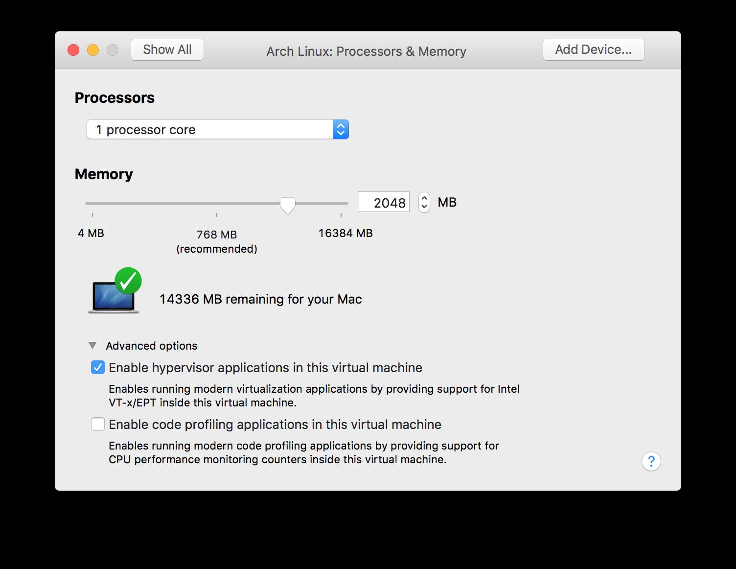 Virtual extensions dialog